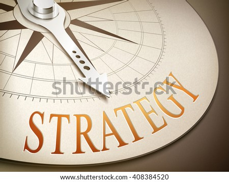 3d illustration compass with needle pointing the word strategy - stock photo