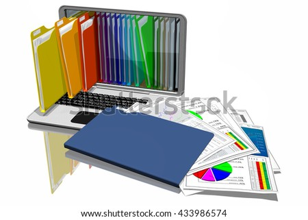 3D illustration. Computers with colored folders for storing documents. Database.