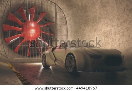 3D illustration, concept car without reference based on real vehicles inside of windtunnel. Clipping path included.