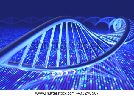 3D illustration, concept of DNA and Senger sequence.