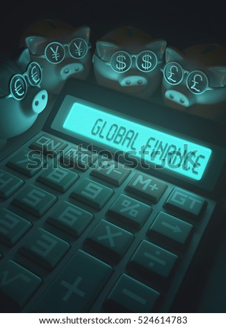 3D illustration, concept of finance and business. Piggy Bank with glasses with sign of money, euro, yen, dollar and pound.