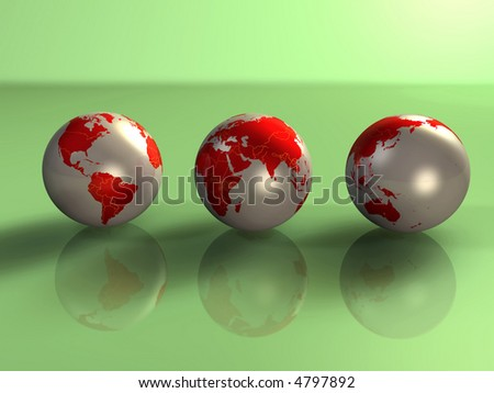 3d illustration concept of 3 metallic earth spheres