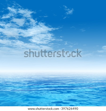 3D illustration concept sunset or sunrise background with the sun close to horizon and sea or ocean metaphor to nature, peace, summer, travel, tropical, tourism, environment, vacation holiday seascape - stock photo