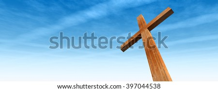 3D illustration concept wood cross or religion symbol shape over a blue sky with clouds background banner for God, Christ, Christianity, religious, faith, holy, spiritual, Jesus, belief resurection