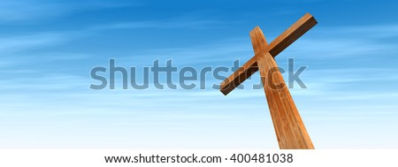 3D illustration conceptual wood cross or religion symbol shape over a blue sky with clouds background for God, Christ, Christianity, religious, faith, holy, spiritual, Jesus, belief or resurection