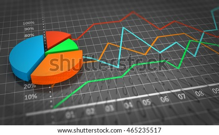 3D illustration, Corporate economics graph financial concept. Financial data in the global economy.
