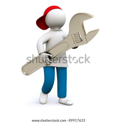 3D Illustration, craftsman holding a wrench