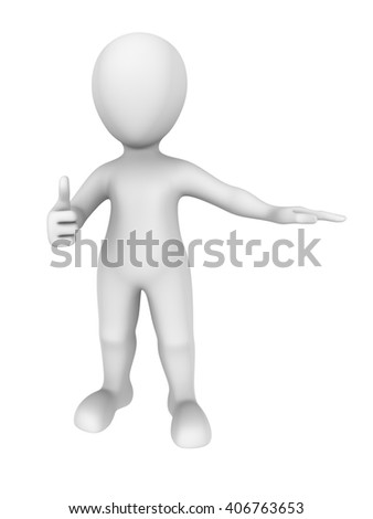 3d illustration. 3d man shows thumbs up gesture