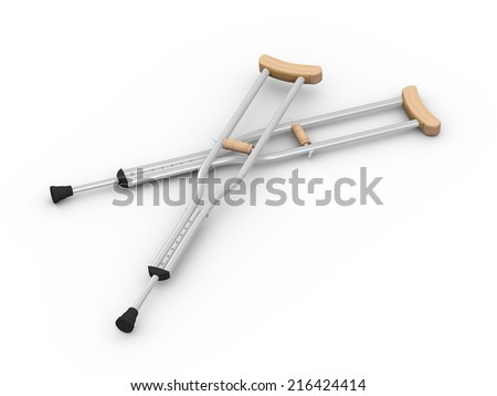 3d illustration 3d pair of crutches orthopedic equipment on white background - stock photo