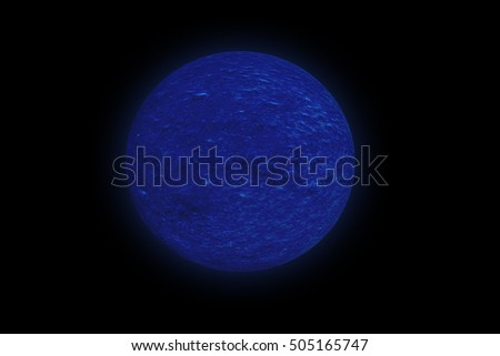 """3D illustration""  3d planet.  Belt asteroids in space on a starry background. Uranus, planet of the solar system  . Gas Giant Planet, like Neptune . explosion of a far star . explosion in space"