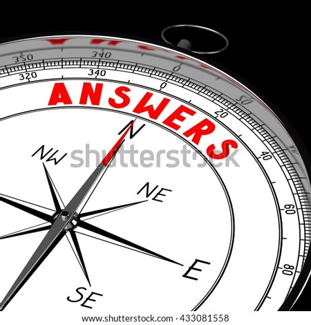 3D illustration/ 3d rendering - compass, answers concept.