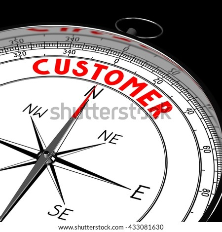 3D illustration/ 3d rendering - compass, customer concept.