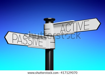 3D illustration/ 3D rendering - crossroads concept - active and passive