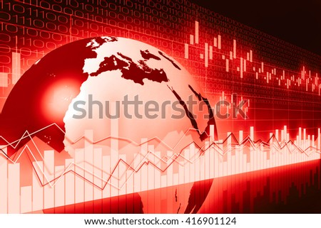 3D illustration/ 3D rendering - Earth and business chart - great for topics like international business/ trade etc. - stock photo