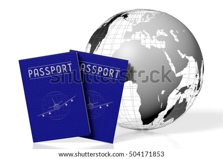 3D illustration/ 3D rendering - Earth and passports - travel concept.