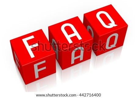 3D illustration/ 3D rendering - Faq (frequently asked questions) - 3D cube word - stock photo