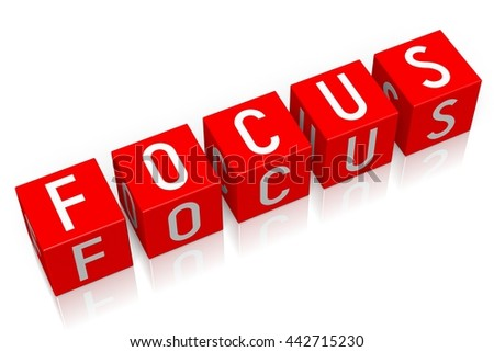 3D illustration/ 3D rendering - Focus - 3D cube word - stock photo
