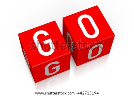 3D illustration/ 3D rendering - Go - 3D cube word - stock photo