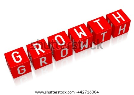 3D illustration/ 3D rendering - Growth - 3D cube word - stock photo