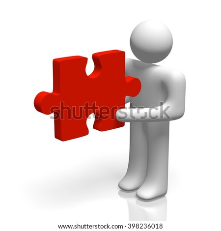 3D illustration/ 3D rendering - human character holding a jigsaw puzzle.