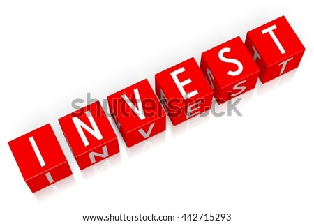 3D illustration/ 3D rendering - Invest - 3D cube word