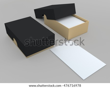 3D illustration, 3D rendering mock up blank black and brown packaging for name cards in isolated background with work paths, clipping paths included.