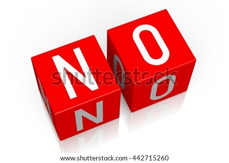 3D illustration/ 3D rendering - No - 3D cube word - stock photo