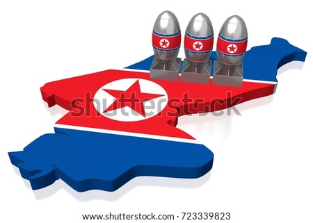 3D illustration/ 3D rendering - North Korea, atomic bombs
