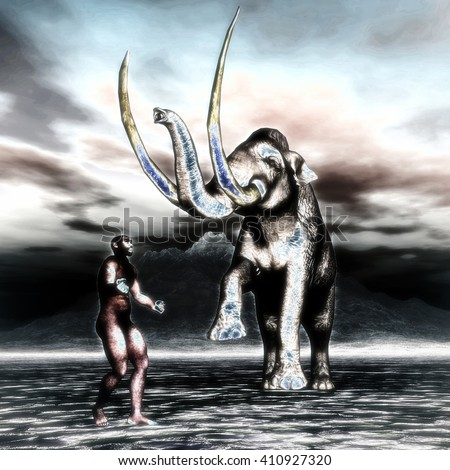 3D Illustration; 3D Rendering of a Mammoth with prehistoric man