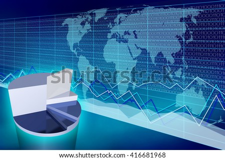 3D illustration/ 3D rendering - pie chart and world map - great for topics like global business, international trade etc.
