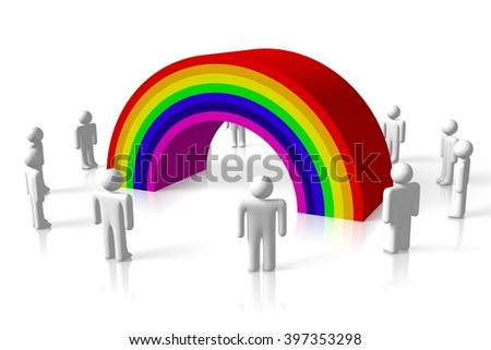 3D illustration/ 3D rendering - rainbow concept - great for topics like gay, lesbian, homosexual, LGBT etc. - stock photo