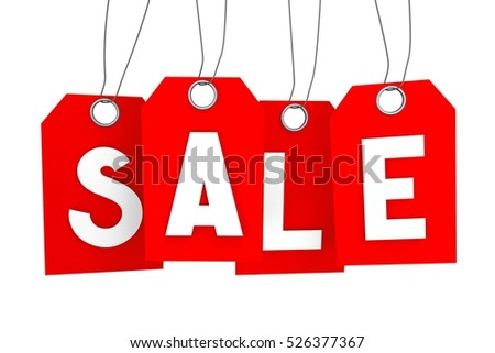 3D illustration/ 3D rendering - sale concept, red hang-tags with percentage signs on them - great for topics like discount/ special offer etc.