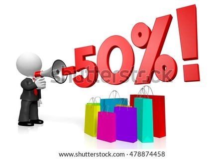 3D illustration/ 3D rendering - sale/ fifty per cent off