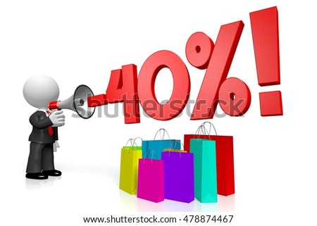 3D illustration/ 3D rendering - sale/ forty per cent off