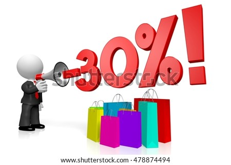 3D illustration/ 3D rendering - sale/ thirty per cent off