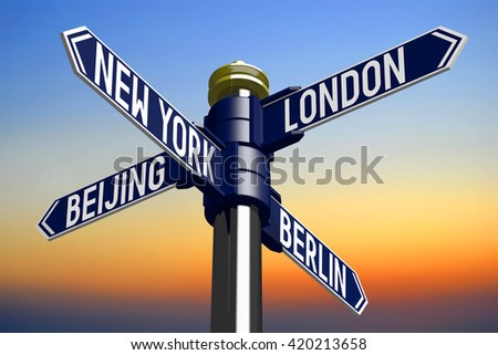 3D illustration/ 3D rendering - signpost with four arrows - capital cities - stock photo