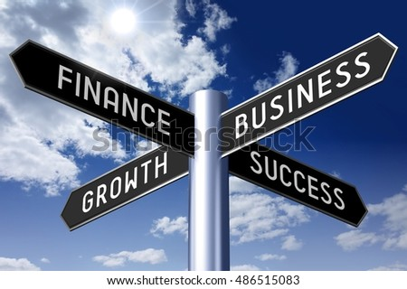 3D illustration/ 3D rendering - signpost with four arrows - finance, business, growth, success.