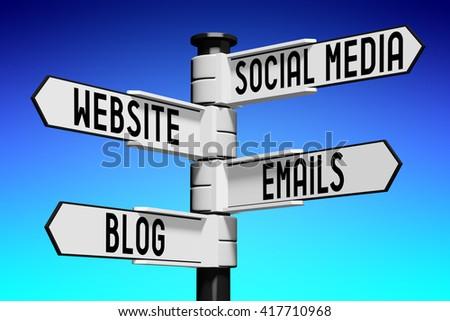 3D illustration/ 3D rendering - signpost with four arrows - on-line marketing - stock photo