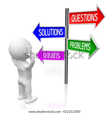 3D illustration/ 3D rendering - signpost with four arrows - problems concept - stock photo