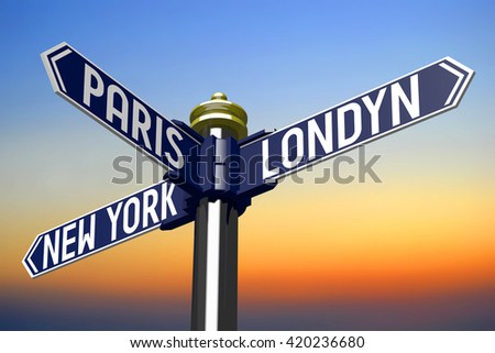 3D illustration/ 3D rendering - signpost with three arrows - capital cities - stock photo