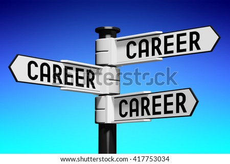 3D illustration/ 3D rendering - signpost with three arrows - career concept