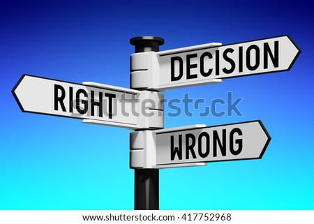 3D illustration/ 3D rendering - signpost with three arrows - decision concept - stock photo