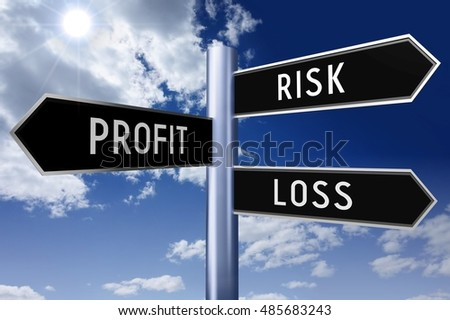 3D illustration/ 3D rendering - signpost with three arrows - investing risk (risk, profit, loss).