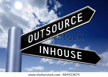 3D illustration/ 3D rendering - signpost with two arrows - inhouse, outsource