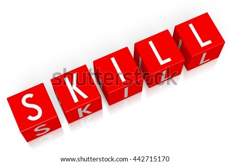 3D illustration/ 3D rendering - Skill - 3D cube word - stock photo