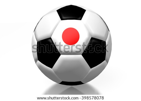 3D illustration/ 3D rendering - soccer/ football - Japanese flag.