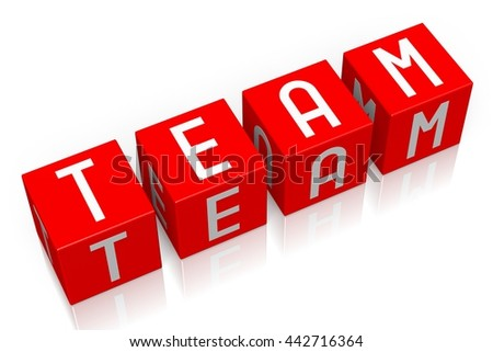 3D illustration/ 3D rendering - Team - 3D cube word - stock photo