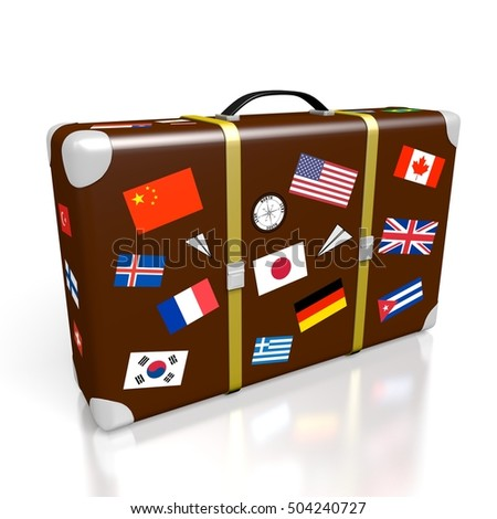 3D illustration/ 3D rendering - travel suitcase - international flags.