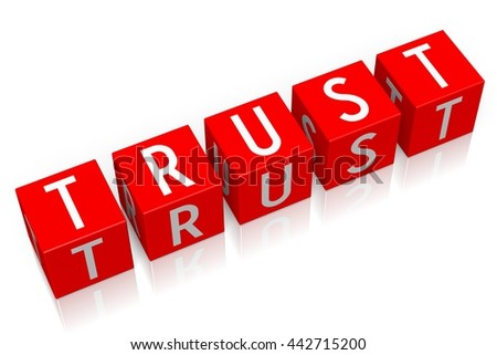 3D illustration/ 3D rendering - Trust - 3D cube word - stock photo