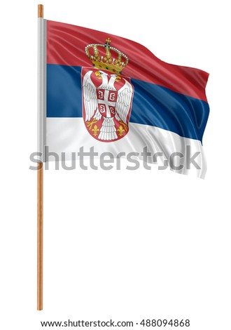 3D Illustration. 3D Serbian flag with fabric surface texture. White background.